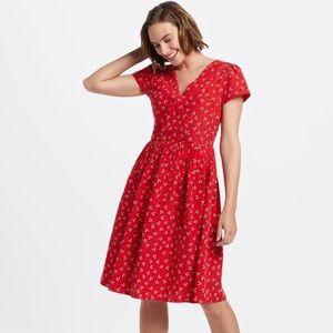 Draper James NWT Lipstick Red Floral V-Neck Dress
